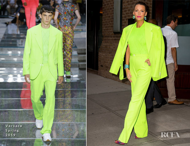 Blake Lively's Fashion Weekender In Versace - 'A Simple Favor' new york