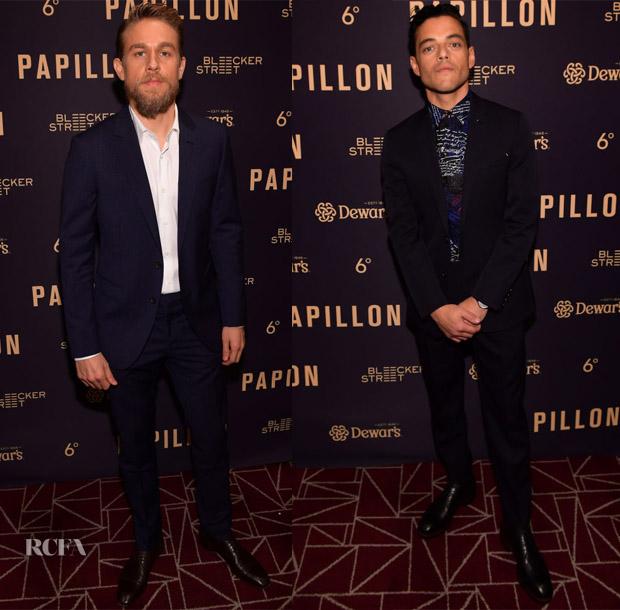 Charlie Hunnam In Lanvin & Rami Malek In Berluti - 'Papillon' LA Premiere