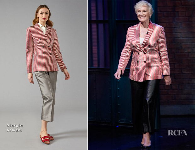 Glenn Close In Giorgio Armani - Late Night with Seth Meyers