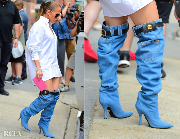 Jennifer Lopez Rocks Versace Denim Boots