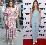 Jessica Biel In Johanna Ortiz & Elie Saab - The Late Show With Stephen Colbert & 'The Sinner' New York Screening