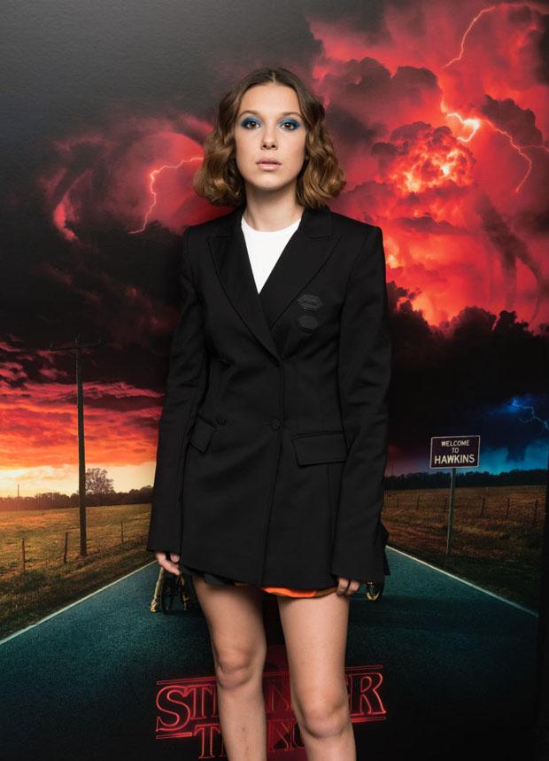 79a5fe477b88 Millie Bobby Brown In Off-White –  Stranger Things Season 2  Screening