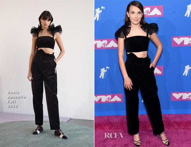 e6bbf4afceba Millie Bobby Brown In Rosie Assoulin - 2018 MTV VMAs - Red Carpet ...