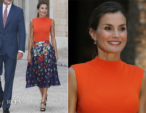 Queen Letizia of Spain In Hugo Boss & Carolina Herrera - Almudaina Royal Palace
