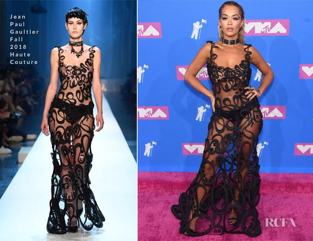 69adfafad7eca Rita Ora In Jean Paul Gaultier Haute Couture - 2018 MTV VMAs - Red ...