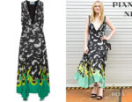 Dakota Fanning's Prada Asymmetric Printed Midi Dress