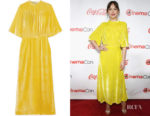 Dakota Johnson's Attico Gathered Velvet Dress