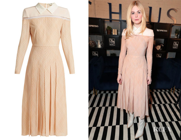 Elle Fanning's Fendi Detachable-Collar Pleated-Silk Dress