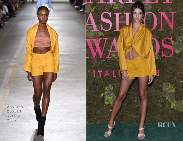Emily Ratajkowski In Roberto Cavalli - Green Carpet Fashion Awards Italia 2018
