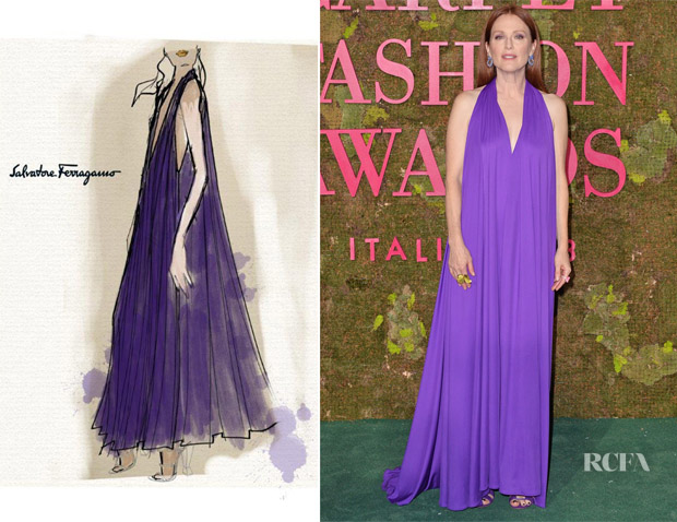 Julianne Moore In Salvatore Ferragamo - Green Carpet Fashion Awards Italia 2018