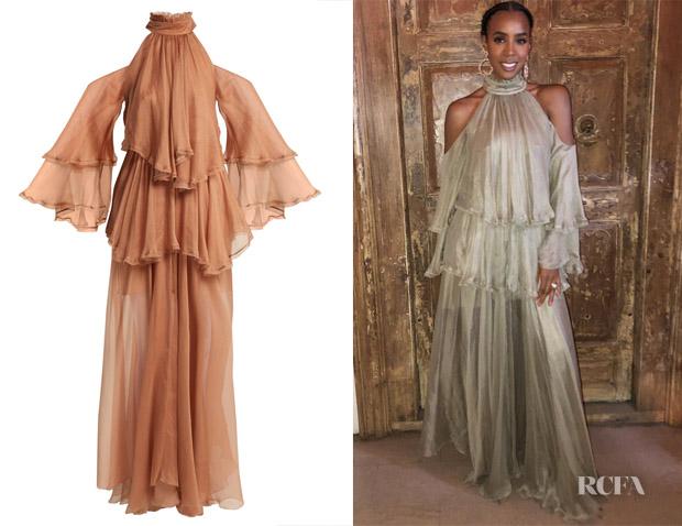 Kelly Rowland's Maria Lucia Honan Oksanna Halterneck Gown