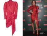Natalia Vodianova's Alexandre Vauthier Asymmetric Polka-Dot Dress