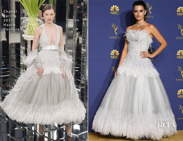 Better View Of Penelope Cruz' Chanel Haute Couture Emmys Gown