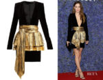 Riley Keough's Alexandre Vauthier Pleated Overlay Dress