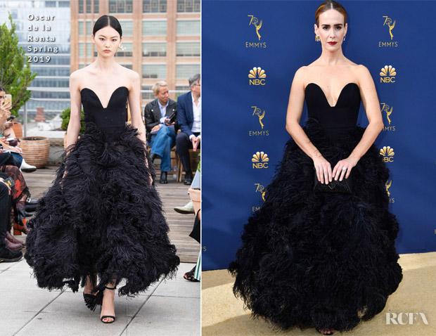 Sarah Paulson In Oscar de la Renta - 2018 Emmy Awards