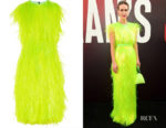 Sarah Paulson's Prada Paillette-Embellished Scuba Dress