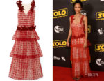 Thandie Newton's Rodarte Velvet-Trimmed Appliquéd Layered Tulle Gown