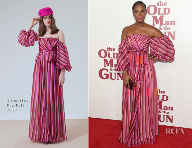 Tika Sumpter In Blumarine - 'The Old Man & The Gun' New York Premiere