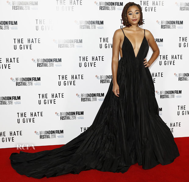 Amandla Stenberg In Valentino - 'The Hate U Give' London Film Festival Premiere