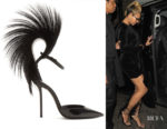 Beyonce Knowles Saint Laurent Jamie Fur and Crystal-Embellished Pumps