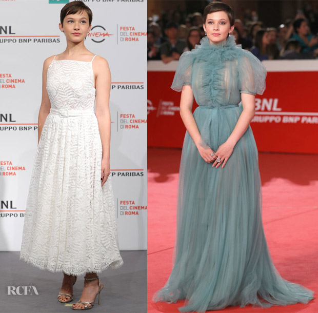 Cailee Spaeny In Miu Miu Collection & Valentino - 'Bad Times at the El Royale' Rome Film Festival Photocall & Premiere