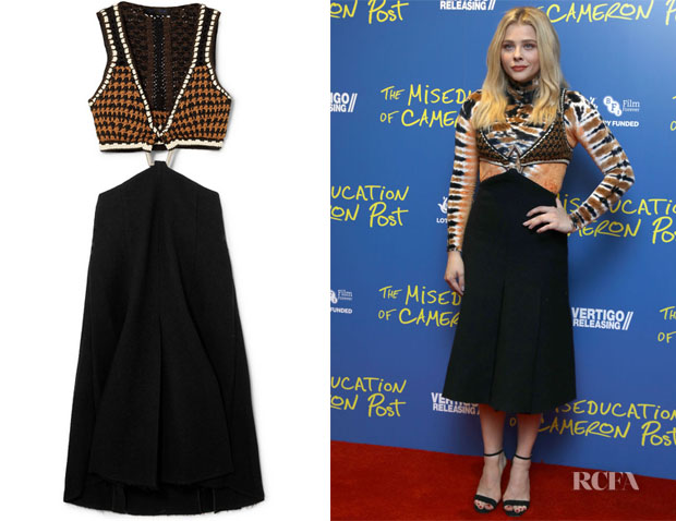 Chloe Grace Moretz's Proenza Schouler Cutout Crochet-Knit and Bouclé Dress
