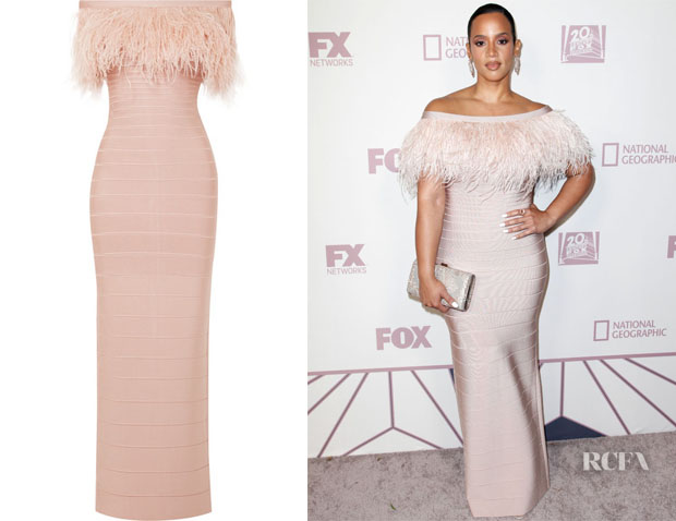Dascha Polanco's Herve Leger Off-The-Shoulder Gown