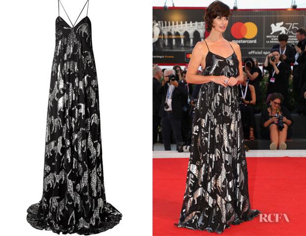 Paz Vega's Carolina Herrera Metallic fil coupé Chiffon Gown
