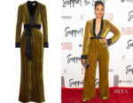 Regina Hall's Diane von Furstenberg Satin-Trimmed Striped Devoré-Velvet Jumpsuit