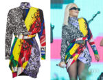 Rita Ora's Versace Printed Wrap Dress