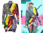 Rita Ora's Versace Printed Wrap Dress