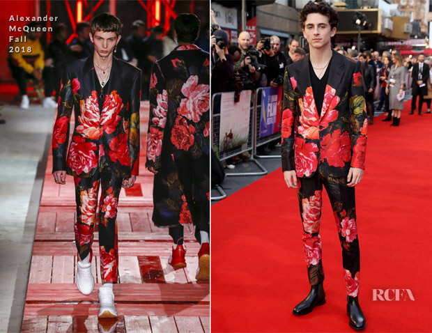 Timothée Chalamet In Alexander McQueen - 'A Beautiful Boy' London Film Festival Premiere