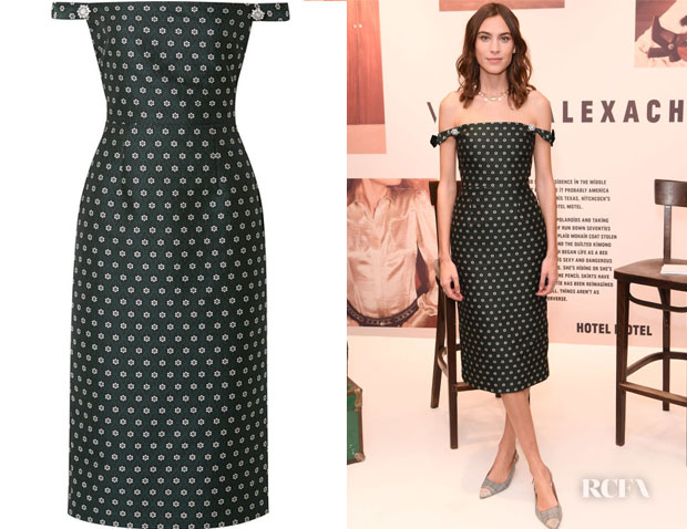 Alexa Chung's ALEXACHUNG Embellished Off-The-Shoulder Dress