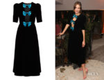 Alexa Chung's Gucci Bow-Embellished Velvet Black Dress