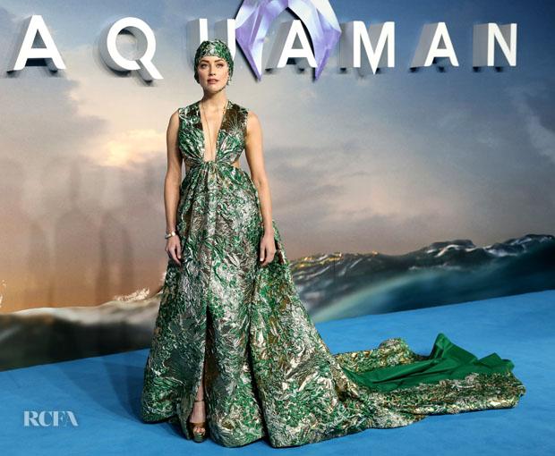 Amber Heard In Valentino Haute Couture - 'Aquaman' London Premiere