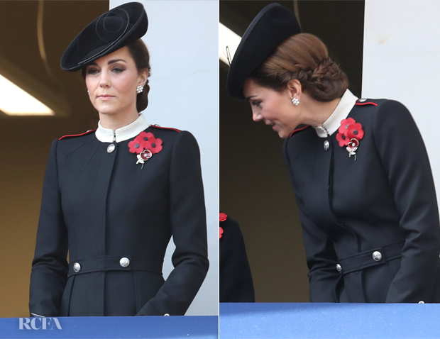 Catherine, Duchess of Cambridge In Roland Mouret & Alexander McQueen - Remembrance Festival & Remembrance Sunday
