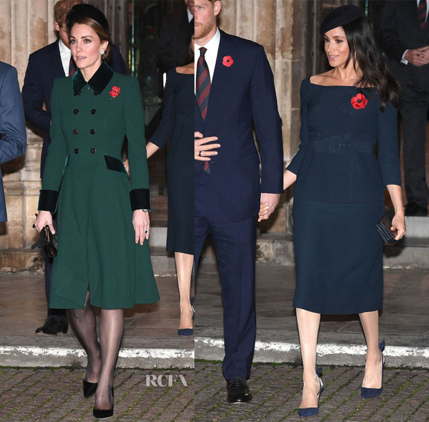 Catherine, Duchess of Cambridge In Catherine Walker & Meghan, Duchess of Sussex In Prada - Service At Westminster Abbey