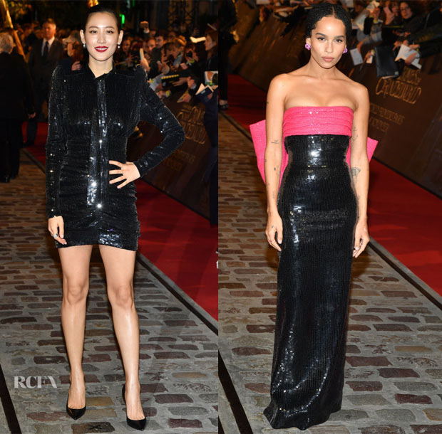 Claudia Kim & Zoe Kravitz In Saint Laurent - 'Fantastic Beasts: The Crimes Of Grindelwald' World Premiere