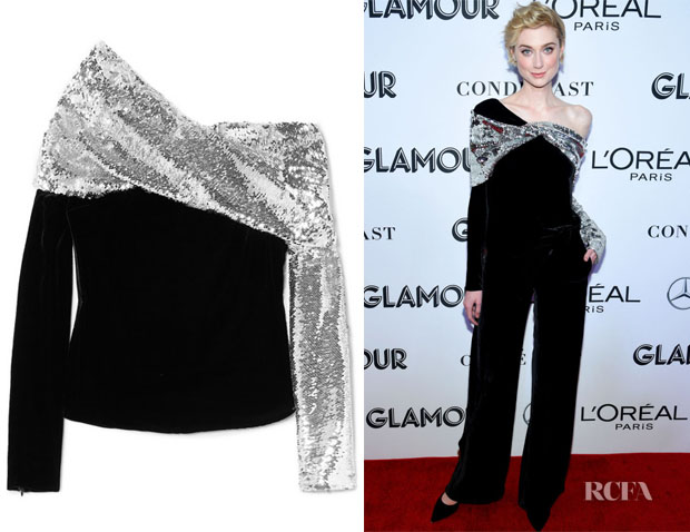 Elizabeth Debicki's Monse One Shoulder Sequin & Velvet Top