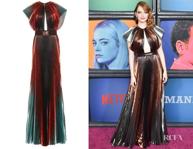 Emma Stone's Givenchy Cutout Degradé Plissé- Lamé Gown