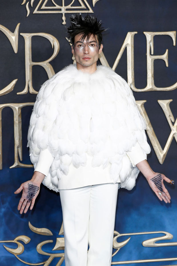 Ezra Miller In Givenchy Haute Couture - 'Fantastic Beasts The Crimes Of Grindelwald' London Premiere