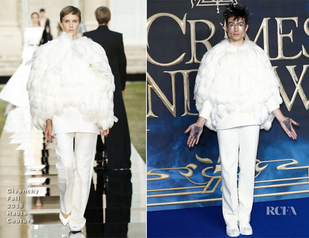 Ezra Miller In Givenchy Haute Couture - 'Fantastic Beasts: The Crimes Of Grindelwald' London Premiere