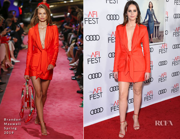 Felicity Jones In Brandon Maxwell - 'On The Basis Of Sex' AFI FEST Gala Screening