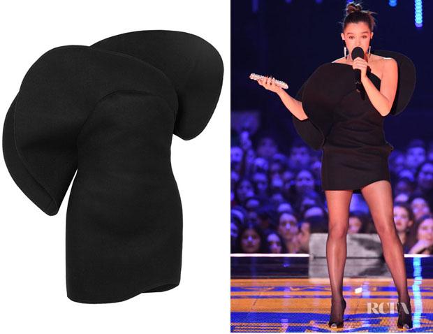 Hailee Steinfeld's Saint Laurent One-Shoulder Wool Mini Dress