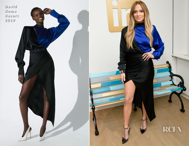 Jennifer Lopez In David Koma - LinkedIn Visit