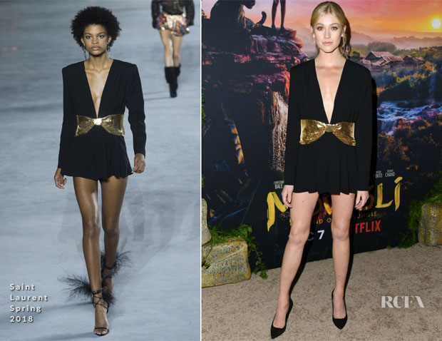 Katherine McNamara In Saint Laurent - Premiere Of Netflix's 'Mowgli'
