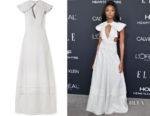 Kiki Layne's Calvin Klein Cape-Effect Striped Dress