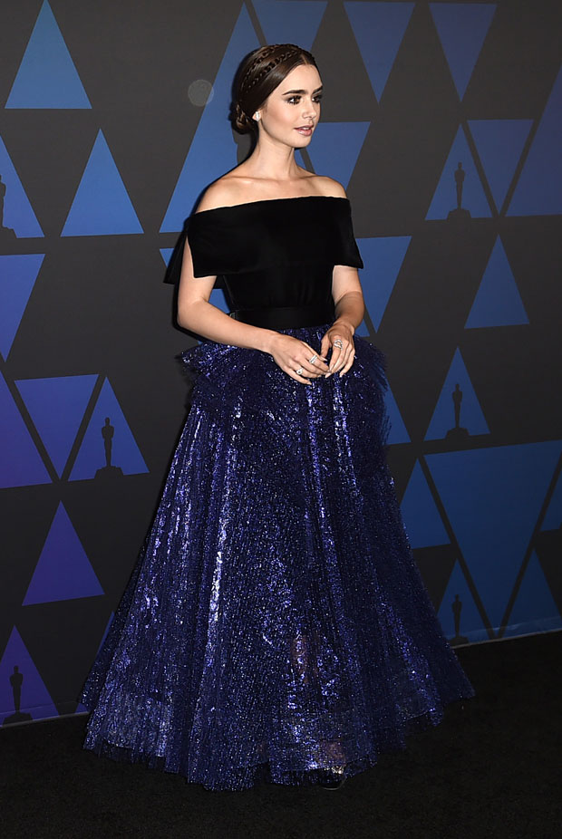 Lily Collins In Georges Chakra Couture - 2018 Governors Awards