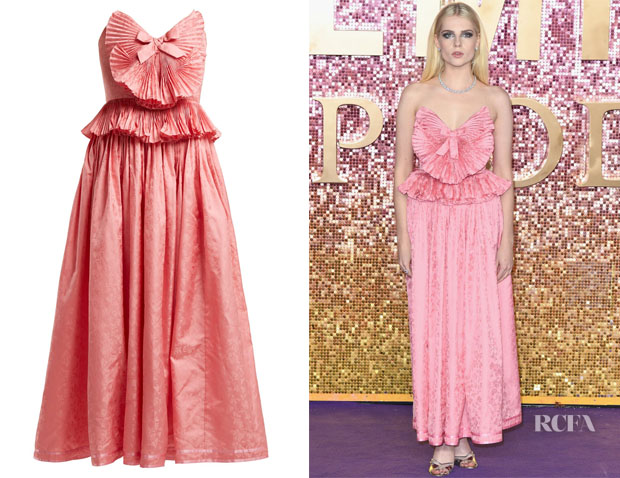 Lucy Boynton's Gucci Pleated-Trim Gown