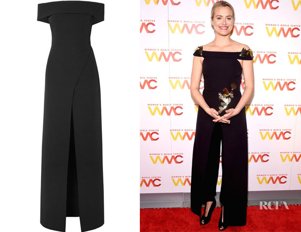 Taylor Schilling's Safiyaa Talia Off-The-Shoulder Wrap-Effect Top